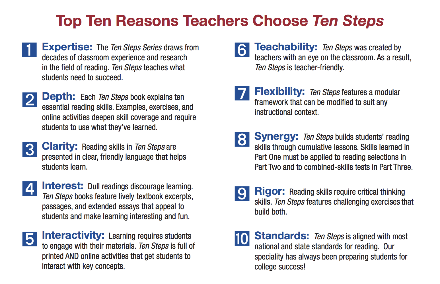 - Ten Steps To Improving College Reading Skills, 7/e Townsend Press